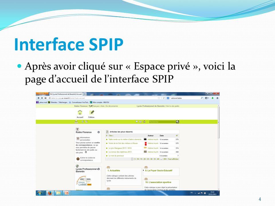 Interface SPIP Après avoir cliqué sur « Espace privé », voici la page daccueil de linterface SPIP 4