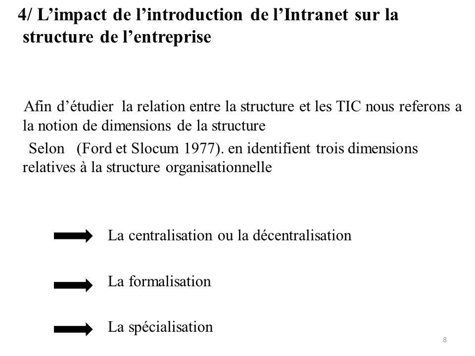 4/ Limpact de lintroduction de lIntranet sur la structure de lentreprise Afin détudier la relation entre la structure et les TIC nous referons a la no