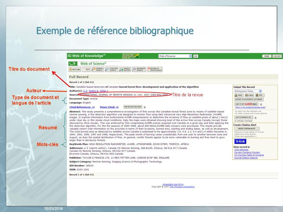 18/05/2014 23 Exemple de référence bibliographique Auteur Résumé Mots-clés Type de document et langue de larticle Titre du document Titre de la revue