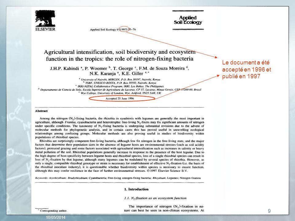 18/05/2014 9 Le document a été accepté en 1996 et publié en 1997