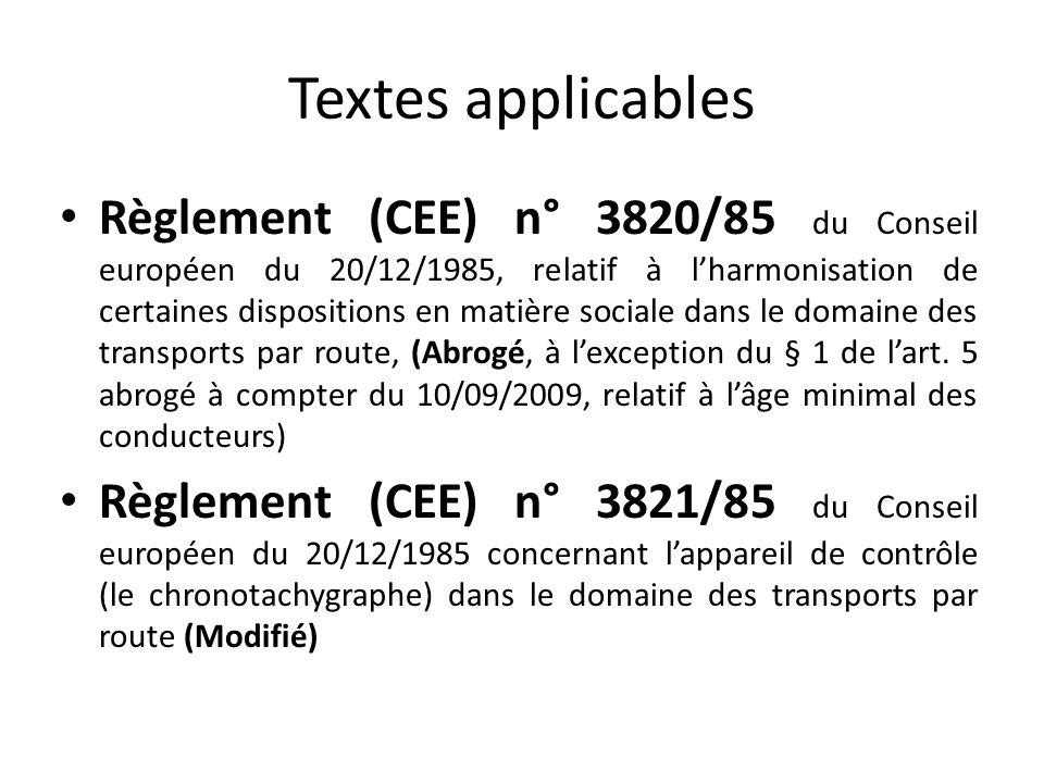 Textes applicables Règlement (CEE) n° 3820/85 du Conseil européen du 20/12/1985, relatif à lharmonisation de certaines dispositions en matière sociale