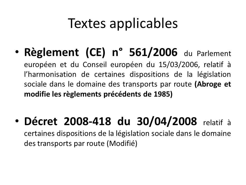 Textes applicables Règlement (CE) n° 561/2006 du Parlement européen et du Conseil européen du 15/03/2006, relatif à lharmonisation de certaines dispos