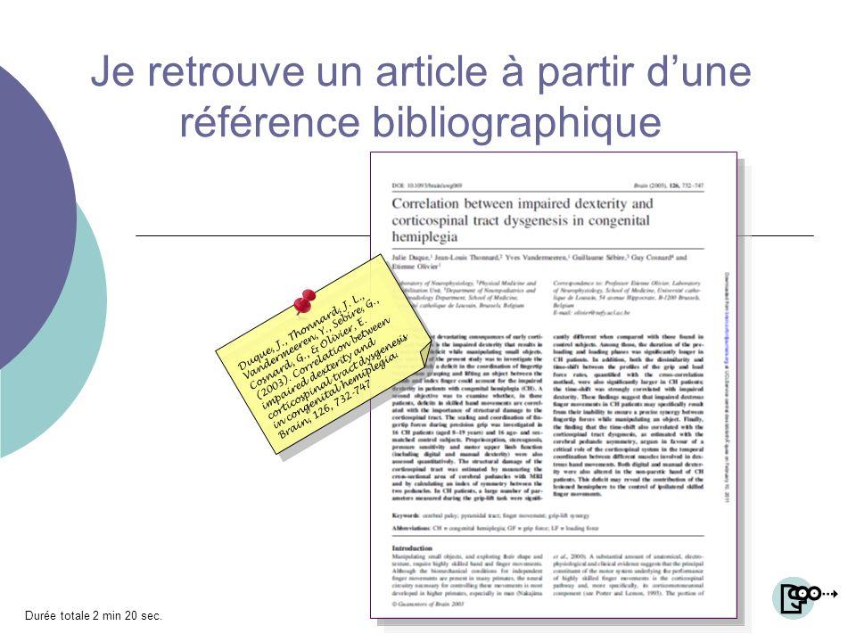 Je retrouve un article à partir dune référence bibliographique Duque, J., Thonnard, J.