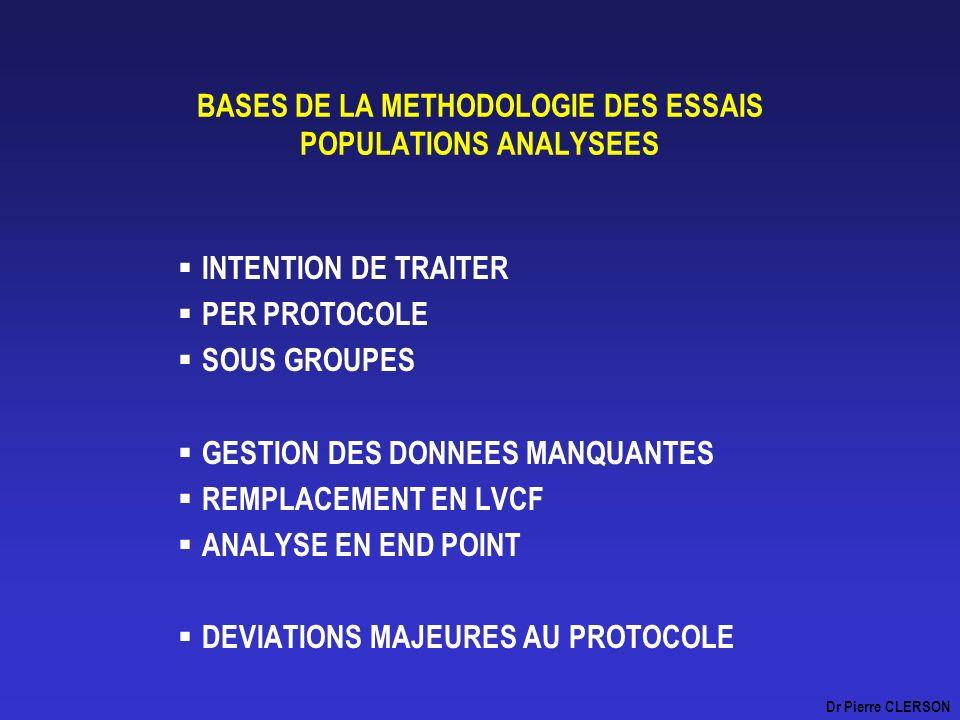 BASES DE LA METHODOLOGIE DES ESSAIS POPULATIONS ANALYSEES INTENTION DE TRAITER PER PROTOCOLE SOUS GROUPES GESTION DES DONNEES MANQUANTES REMPLACEMENT