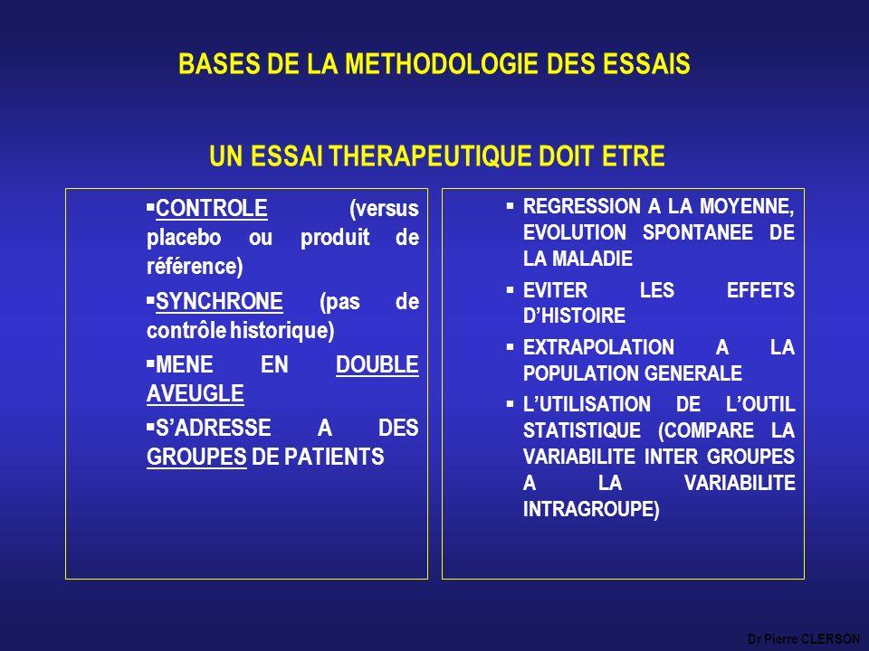 BASES DE LA METHODOLOGIE DES ESSAIS UN ESSAI THERAPEUTIQUE DOIT ETRE CONTROLE (versus placebo ou produit de référence) SYNCHRONE (pas de contrôle hist