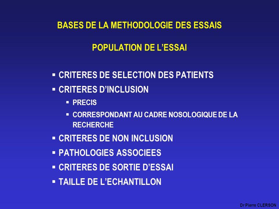 BASES DE LA METHODOLOGIE DES ESSAIS POPULATION DE LESSAI CRITERES DE SELECTION DES PATIENTS CRITERES DINCLUSION PRECIS CORRESPONDANT AU CADRE NOSOLOGI