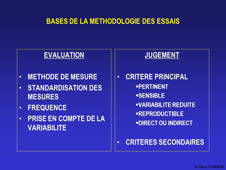 BASES DE LA METHODOLOGIE DES ESSAIS EVALUATION METHODE DE MESURE STANDARDISATION DES MESURES FREQUENCE PRISE EN COMPTE DE LA VARIABILITE JUGEMENT CRIT