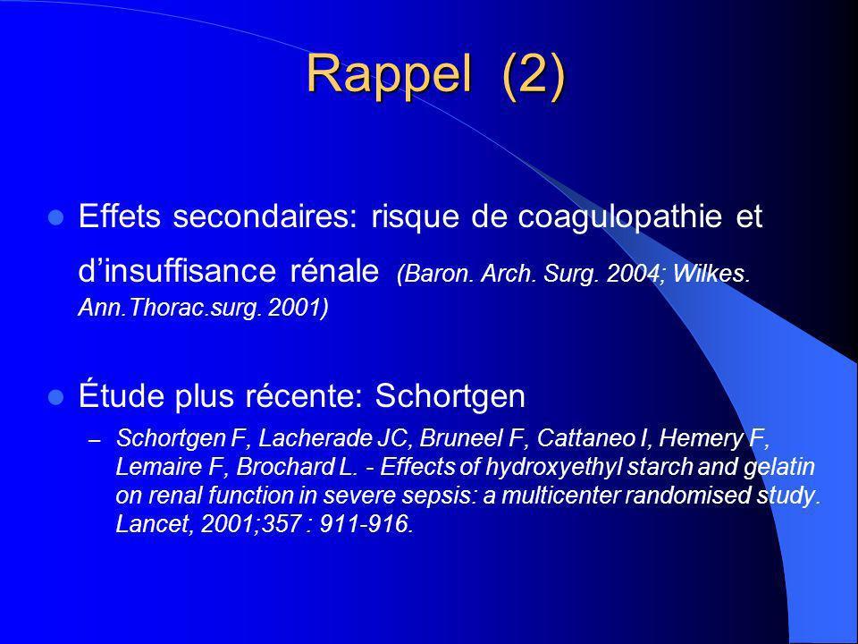 Rappel (2) Effets secondaires: risque de coagulopathie et dinsuffisance rénale (Baron.
