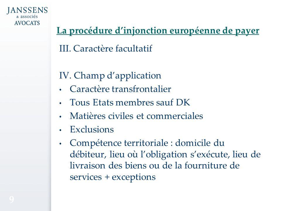La procédure dinjonction européenne de payer III.Caractère facultatif IV.