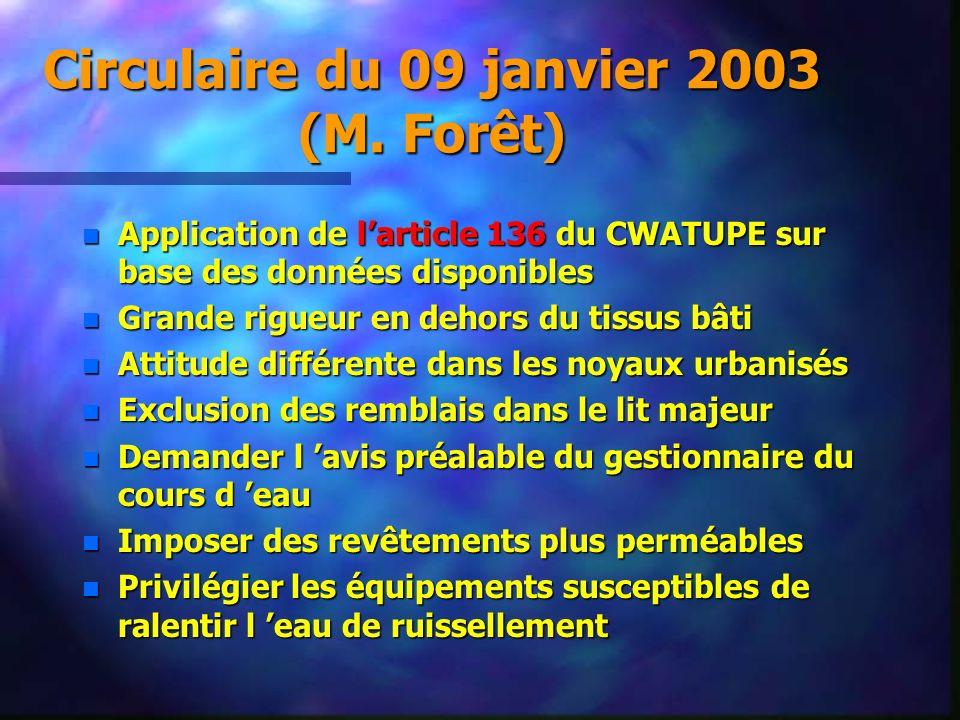 Circulaire du 09 janvier 2003 (M. Forêt) n Application de larticle 136 du CWATUPE sur base des données disponibles n Grande rigueur en dehors du tissu