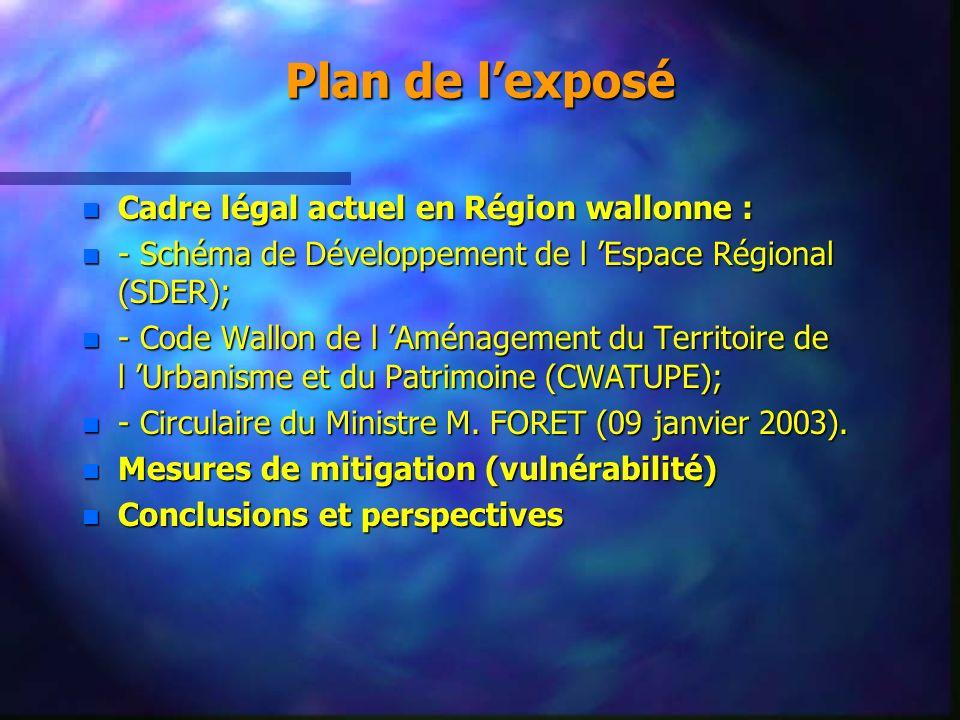 Plan de lexposé n Cadre légal actuel en Région wallonne : n - Schéma de Développement de l Espace Régional (SDER); n - Code Wallon de l Aménagement du