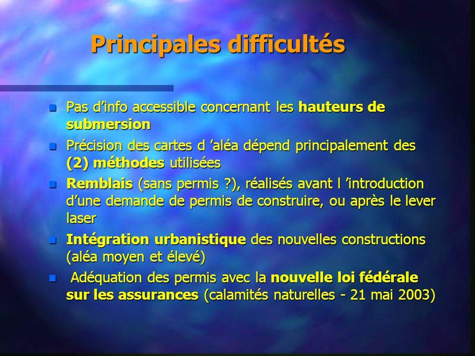 Principales difficultés n Pas dinfo accessible concernant les hauteurs de submersion n Précision des cartes d aléa dépend principalement des (2) métho