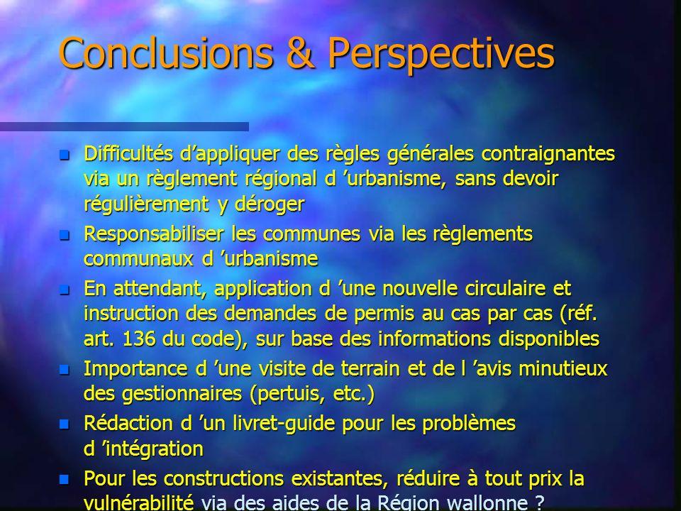 Conclusions & Perspectives n Difficultés dappliquer des règles générales contraignantes via un règlement régional d urbanisme, sans devoir régulièreme