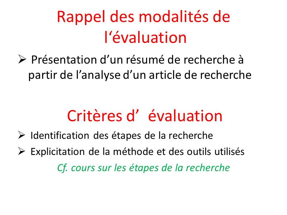 Rappel des modalités de lévaluation Présentation dun résumé de recherche à partir de lanalyse dun article de recherche Critères d évaluation Identification des étapes de la recherche Explicitation de la méthode et des outils utilisés Cf.
