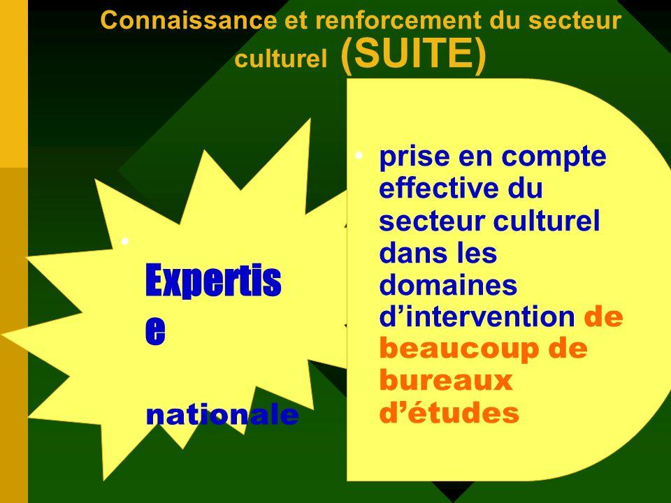 Les acquis dans le domaine de la connaissance et du renforcement du secteur culturel disponibilité des Informations culturelles Existence de résultats