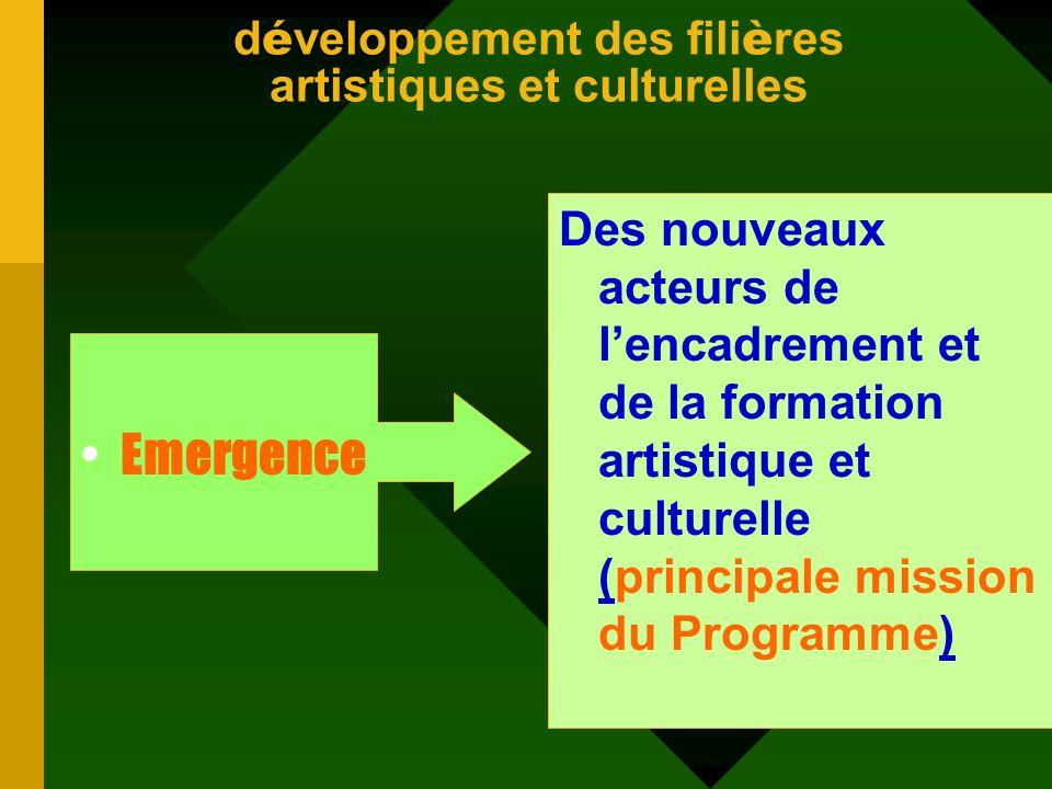 les acquis du PSIC par rapport à deux niveaux daction Le développement des filières artistiques et culturelles ; Le développement culturel local.
