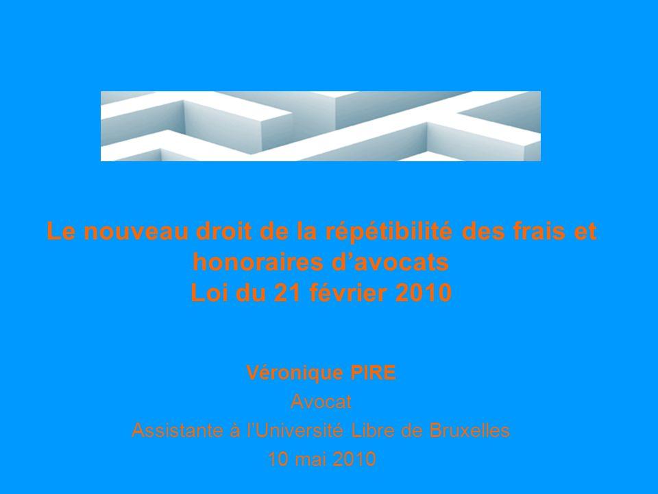 Unité de droit judiciaire - www.procedurecivile.be Evolution de la législation en matière de répétibilité des frais et honoraires davocat 1.Loi du 21 avril 2007 relative à la répétibilité des honoraires et des frais d avocat - entrée en vigueur le 1er janvier 2008 2.