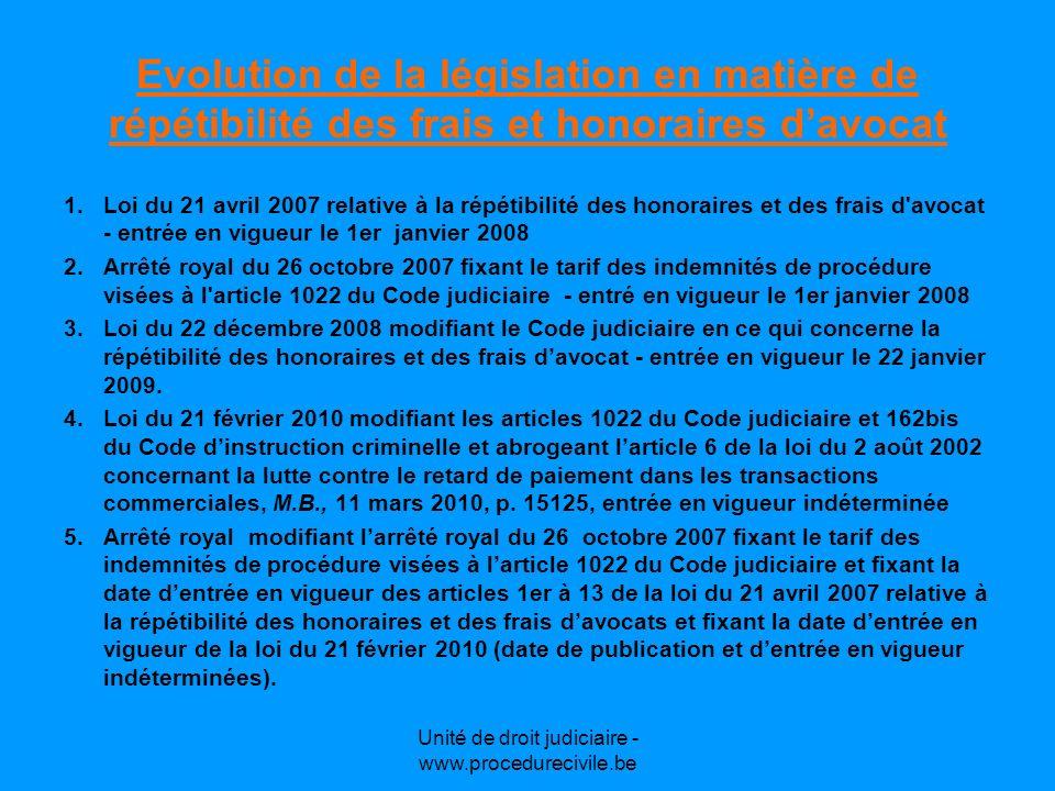 Unité de droit judiciaire - www.procedurecivile.be Les modifications apportées par la loi du 21 février 2010 I.