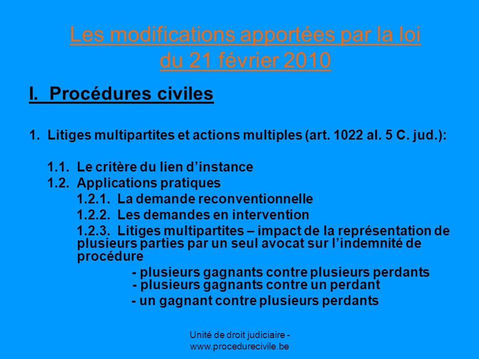 Unité de droit judiciaire - www.procedurecivile.be 2.