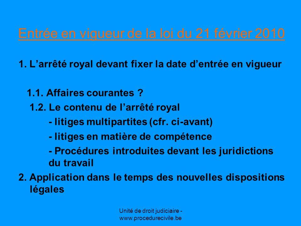 Unité de droit judiciaire - www.procedurecivile.be Les questions non résolues par la loi du 21 avril 2010 1.