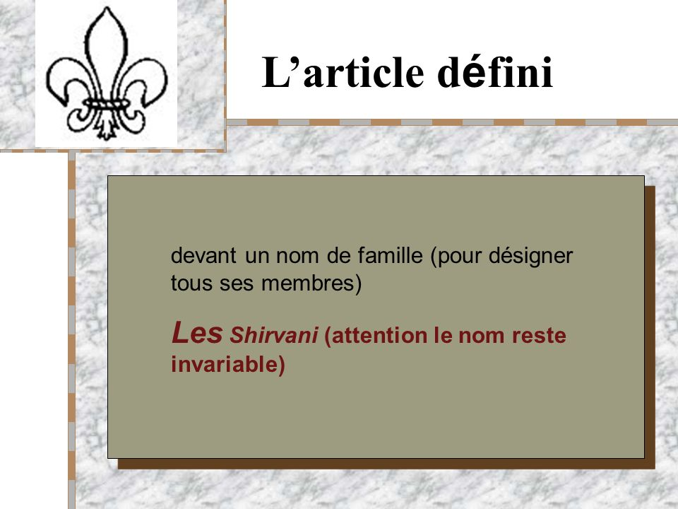 Your Logo Here Larticle d é fini devant un nom de famille (pour désigner tous ses membres) Les Shirvani (attention le nom reste invariable)