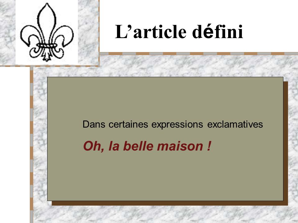 Your Logo Here Larticle d é fini Dans certaines expressions exclamatives Oh, la belle maison !