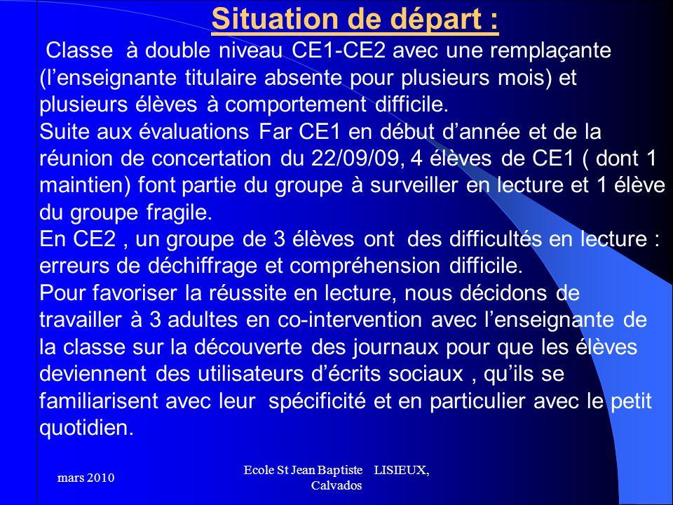 Situation de départ : Classe à double niveau CE1-CE2 avec une remplaçante (lenseignante titulaire absente pour plusieurs mois) et plusieurs élèves à c