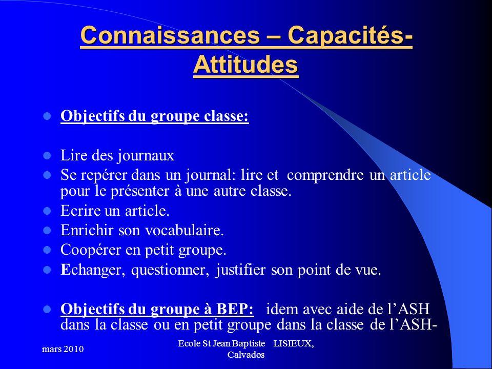 Connaissances – Capacités- Attitudes Objectifs du groupe classe: Lire des journaux Se repérer dans un journal: lire et comprendre un article pour le p