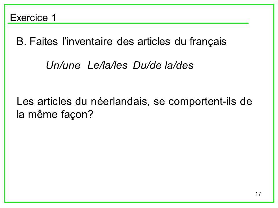 17 Exercice 1 B. Faites linventaire des articles du français Un/une Le/la/les Du/de la/des Les articles du néerlandais, se comportent-ils de la même f