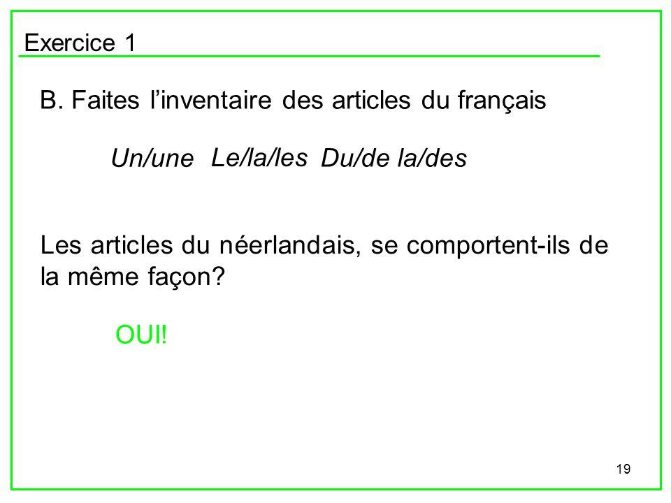 19 Exercice 1 B. Faites linventaire des articles du français Un/une Le/la/les Du/de la/des Les articles du néerlandais, se comportent-ils de la même f