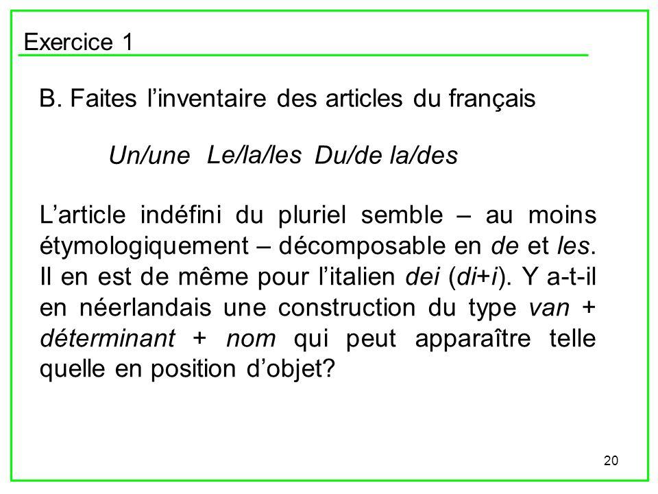 20 Exercice 1 B. Faites linventaire des articles du français Un/une Le/la/les Du/de la/des Larticle indéfini du pluriel semble – au moins étymologique