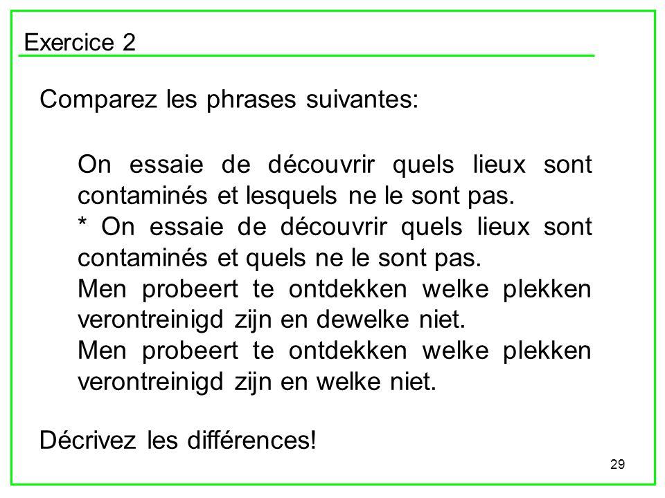 29 Exercice 2 Comparez les phrases suivantes: On essaie de découvrir quels lieux sont contaminés et lesquels ne le sont pas. * On essaie de découvrir