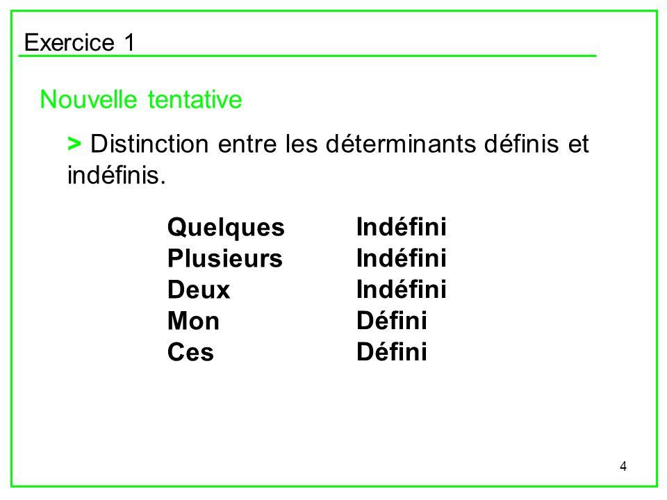 4 Exercice 1 Nouvelle tentative > Distinction entre les déterminants définis et indéfinis. Quelques Plusieurs Deux Mon Ces Indéfini Défini