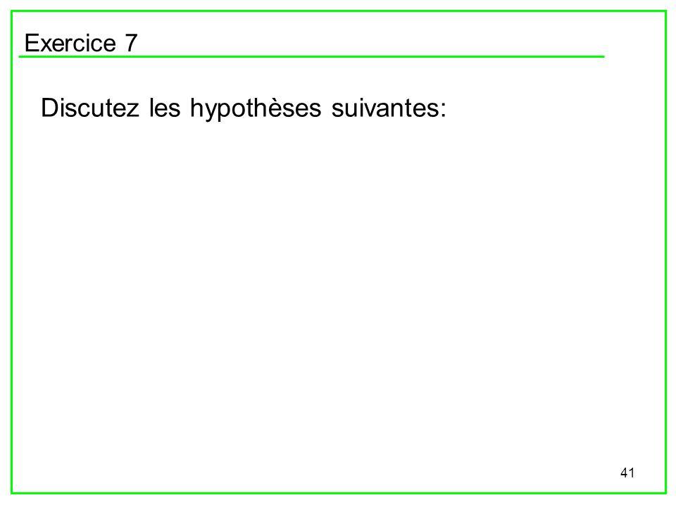 41 Exercice 7 Discutez les hypothèses suivantes: