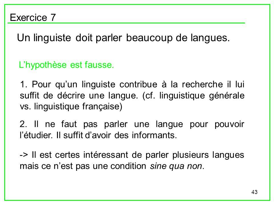 43 Exercice 7 Un linguiste doit parler beaucoup de langues. Lhypothèse est fausse. 1. Pour quun linguiste contribue à la recherche il lui suffit de dé