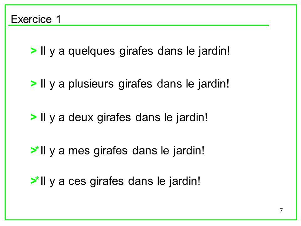 7 Exercice 1 > Il y a quelques girafes dans le jardin! > Il y a plusieurs girafes dans le jardin! > Il y a deux girafes dans le jardin! > Il y a mes g