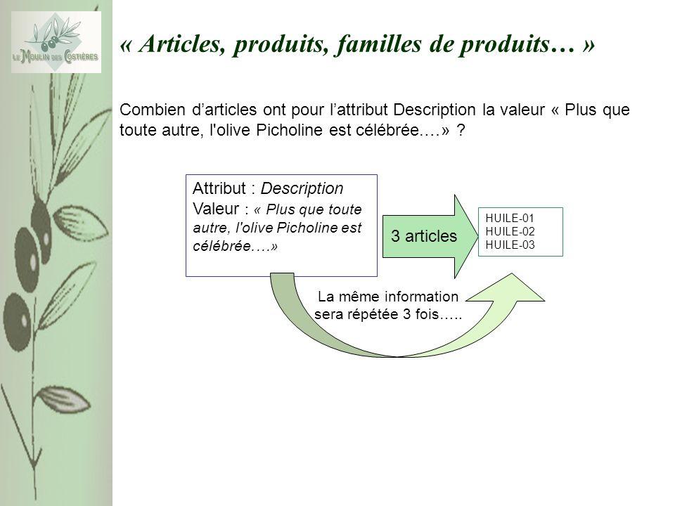 « Articles, produits, familles de produits… » Combien darticles ont pour lattribut Description la valeur « Plus que toute autre, l'olive Picholine est