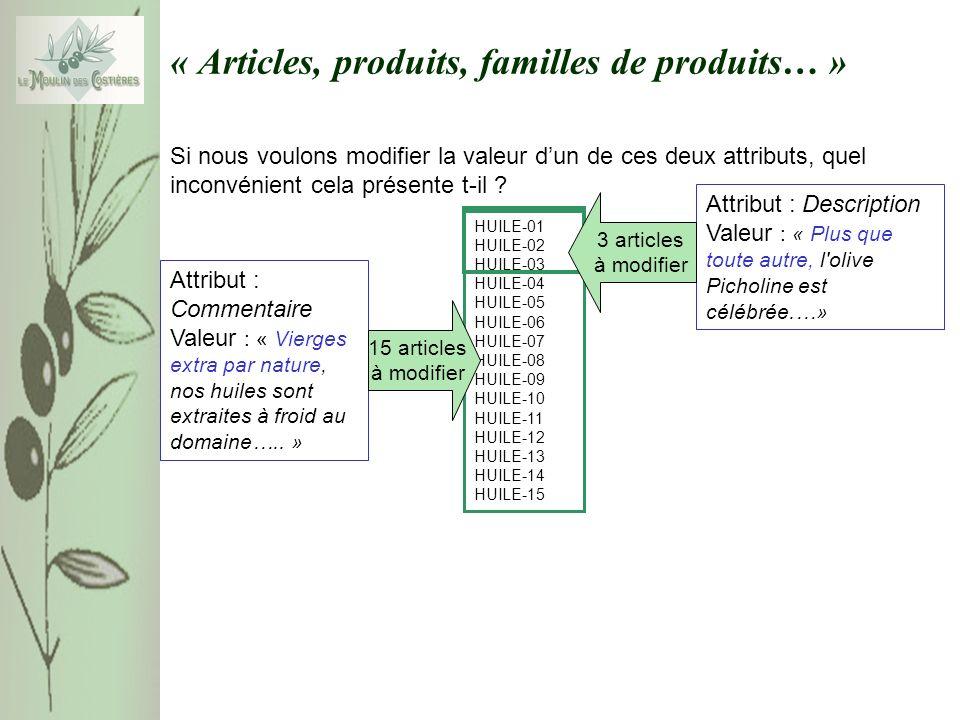 « Articles, produits, familles de produits… » Si nous voulons modifier la valeur dun de ces deux attributs, quel inconvénient cela présente t-il ? Att