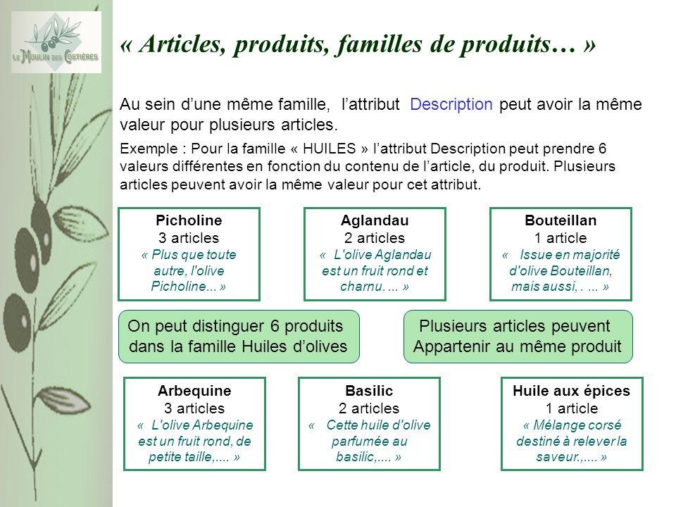 « Articles, produits, familles de produits… » Au sein dune même famille, lattribut Description peut avoir la même valeur pour plusieurs articles. Pich