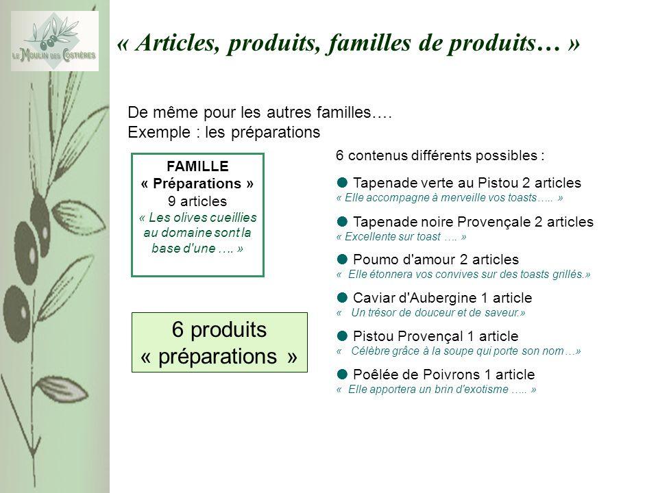« Articles, produits, familles de produits… » De même pour les autres familles…. Exemple : les préparations FAMILLE « Préparations » 9 articles « Les