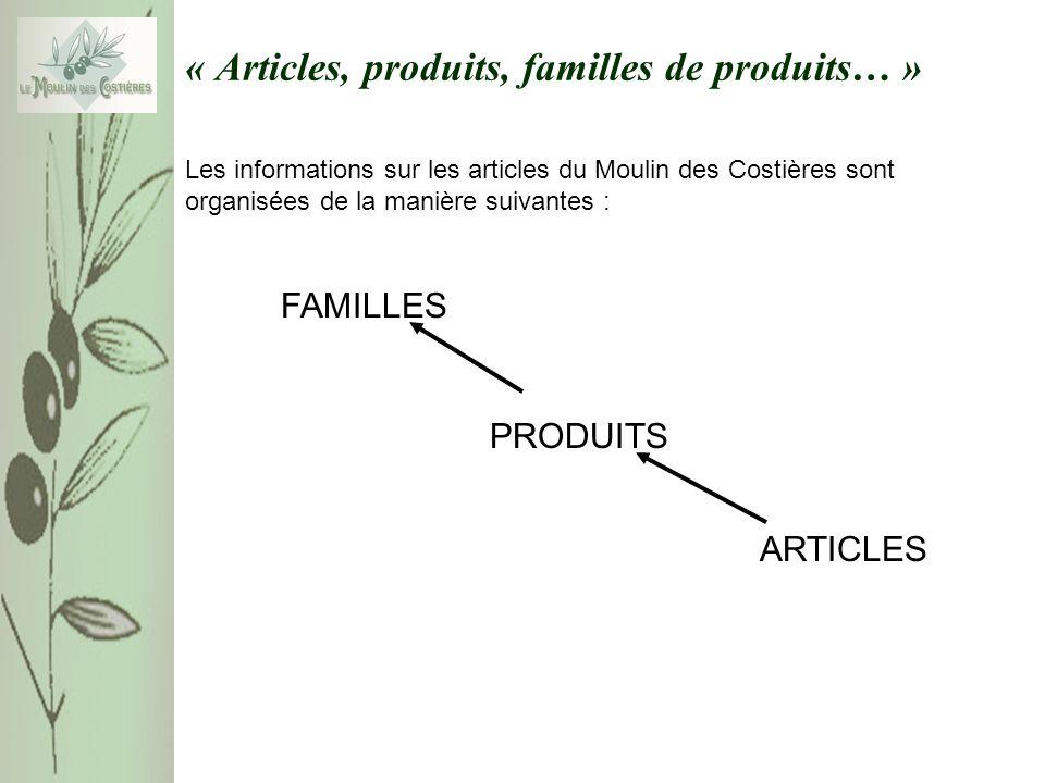 « Articles, produits, familles de produits… » Les informations sur les articles du Moulin des Costières sont organisées de la manière suivantes : FAMI