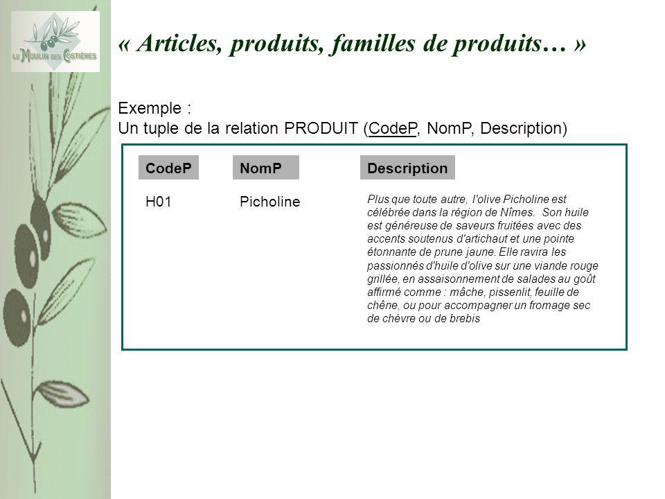 « Articles, produits, familles de produits… » Exemple : Un tuple de la relation PRODUIT (CodeP, NomP, Description) NomP Plus que toute autre, l'olive
