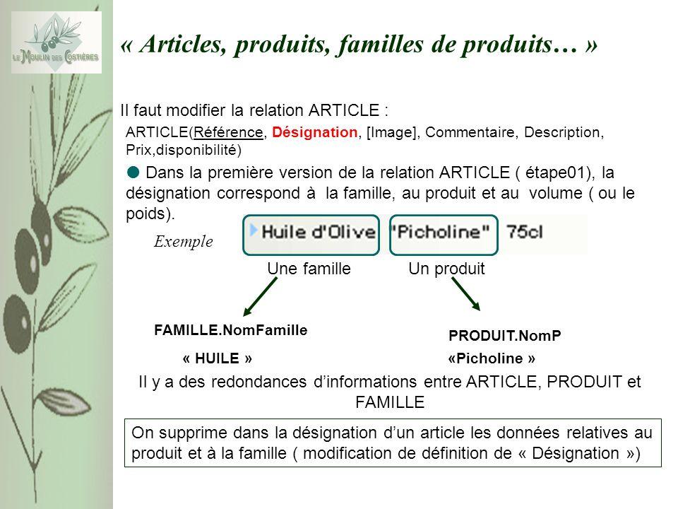 Exemple « Articles, produits, familles de produits… » Il faut modifier la relation ARTICLE : Dans la première version de la relation ARTICLE ( étape01