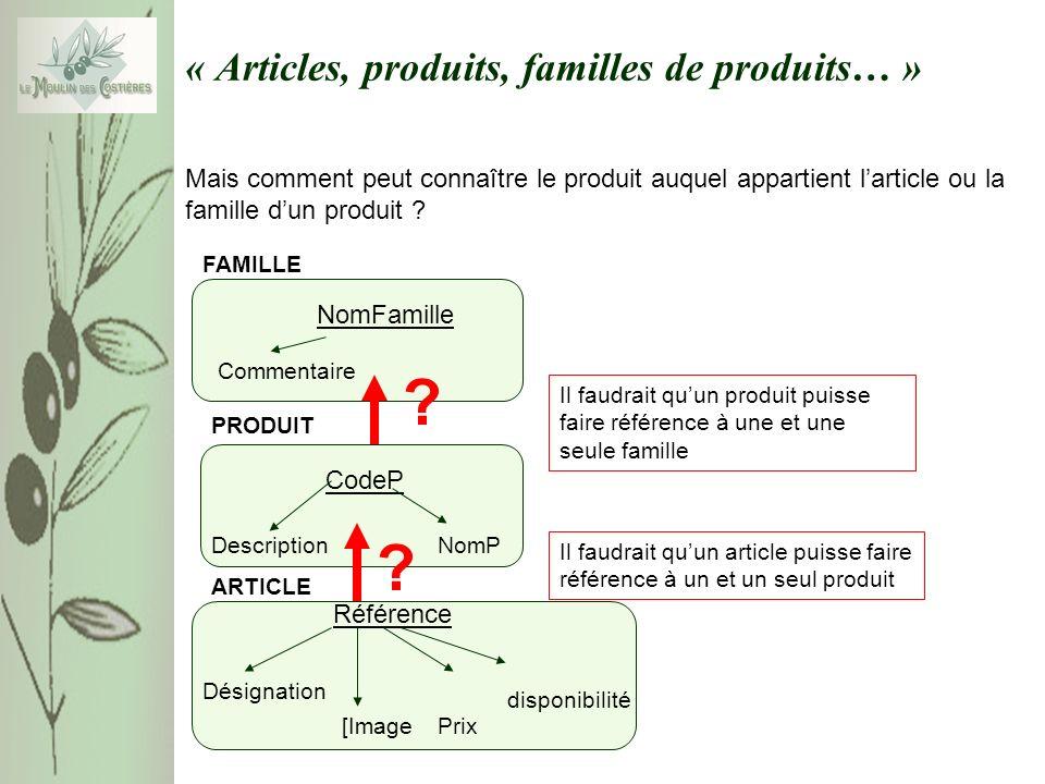 « Articles, produits, familles de produits… » Mais comment peut connaître le produit auquel appartient larticle ou la famille dun produit ? ARTICLE Ré