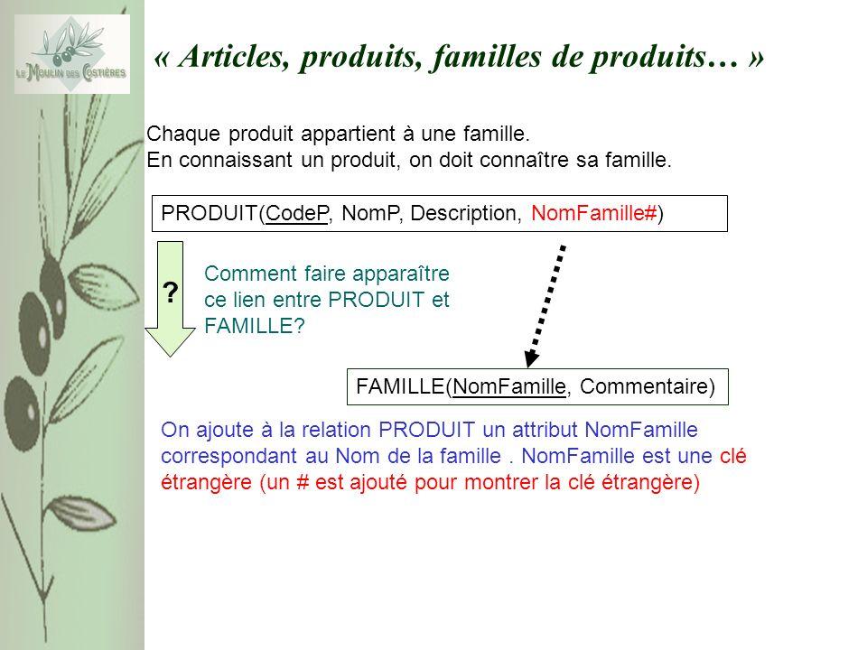« Articles, produits, familles de produits… » Chaque produit appartient à une famille. En connaissant un produit, on doit connaître sa famille. PRODUI