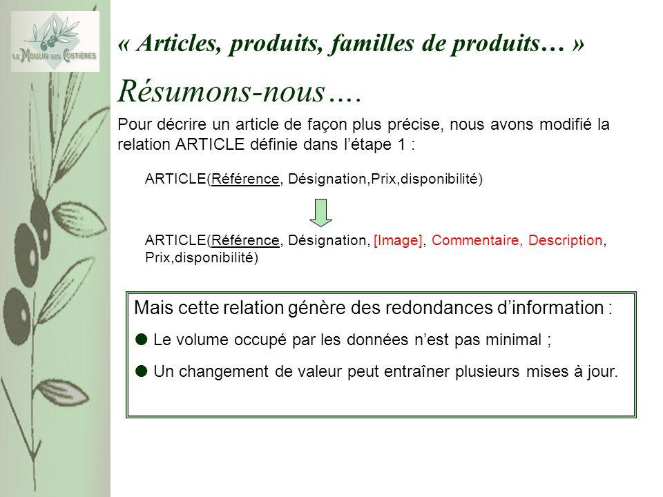 « Articles, produits, familles de produits… » Pour décrire un article de façon plus précise, nous avons modifié la relation ARTICLE définie dans létap