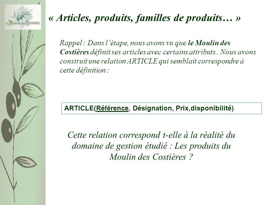 Rappel : Dans létape, nous avons vu que le Moulin des Costières définit ses articles avec certains attributs. Nous avons construit une relation ARTICL