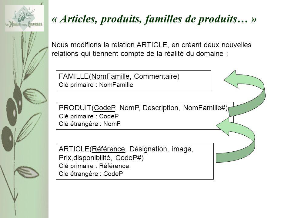 « Articles, produits, familles de produits… » Nous modifions la relation ARTICLE, en créant deux nouvelles relations qui tiennent compte de la réalité