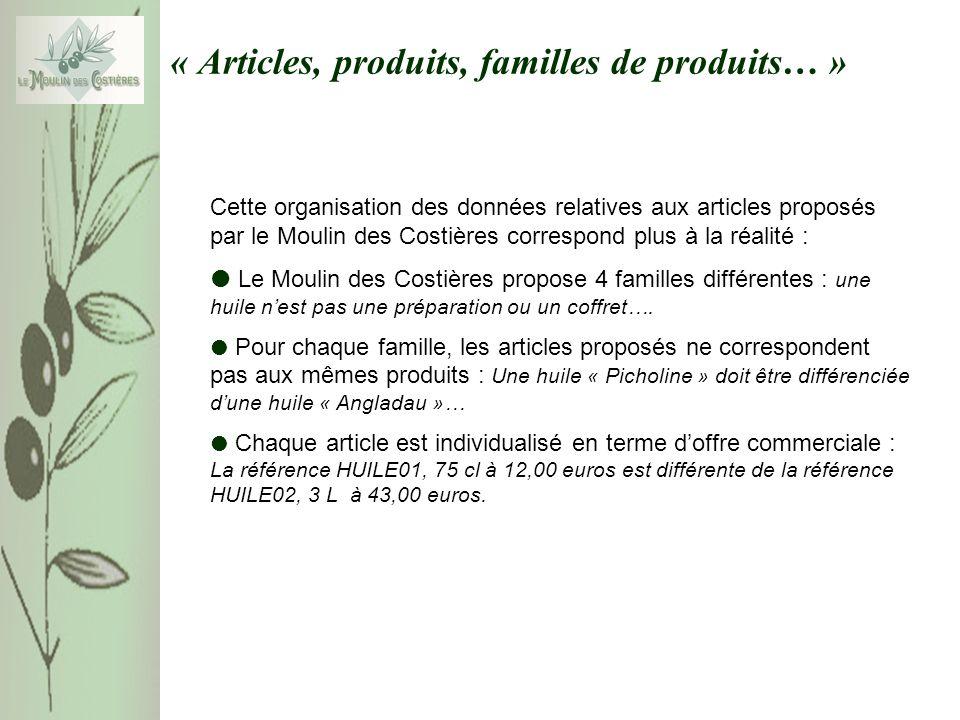« Articles, produits, familles de produits… » Cette organisation des données relatives aux articles proposés par le Moulin des Costières correspond pl