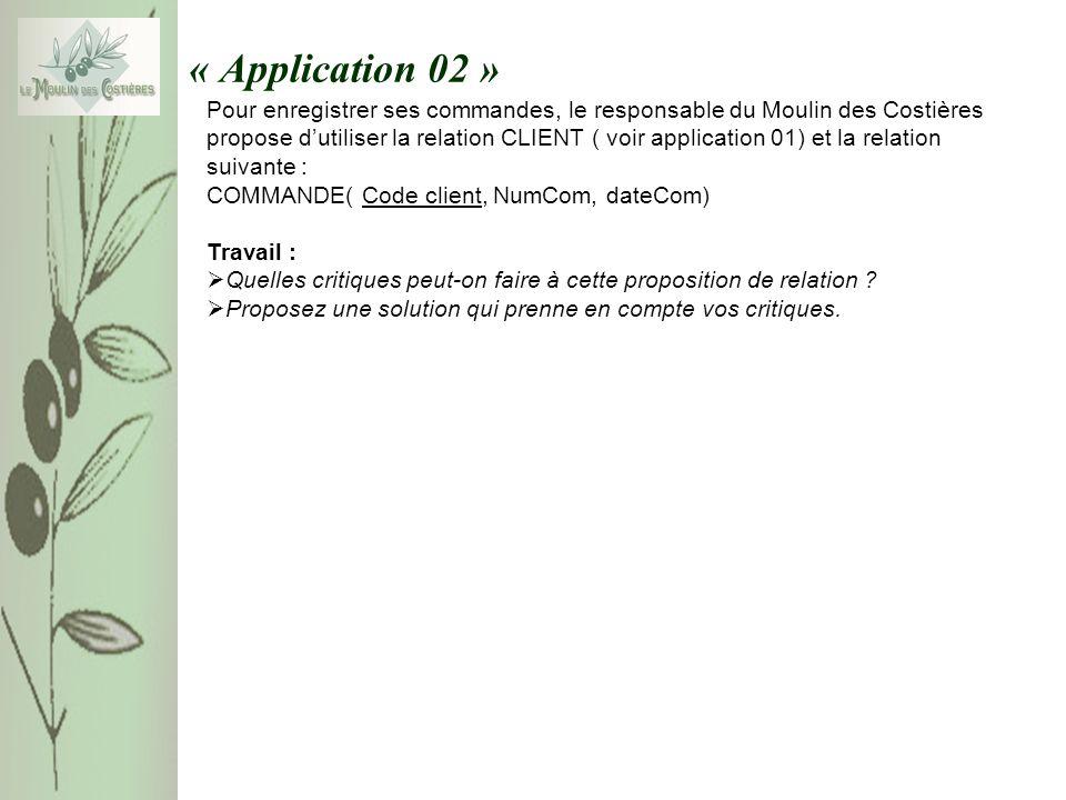 « Application 02 » Pour enregistrer ses commandes, le responsable du Moulin des Costières propose dutiliser la relation CLIENT ( voir application 01)
